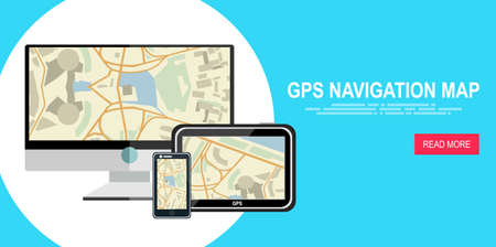 locality: GPS map on display of modern digital devices