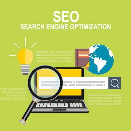 busines: Flat web page design concept of search engine optimization service, SEO data analytics and keyword process.