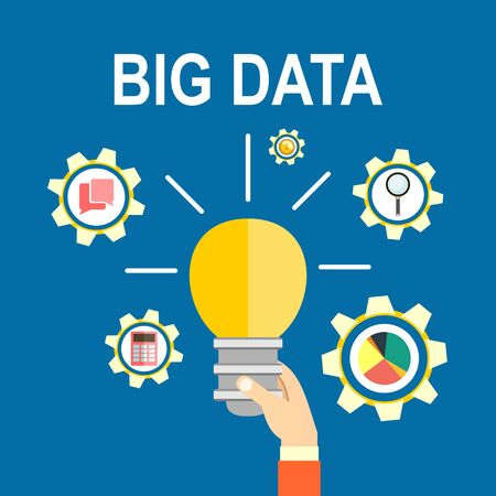 predictive: big data and predictive analytics. Finding new ideas represented by light bulb.