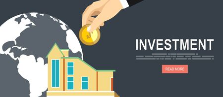bulding: Flat design vector business illustration concept Investment hand hold money coin for website and promotion banners.