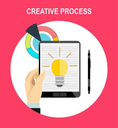 Flat design vector illustration of modern creative designer workspace, social media, mobile devices, advertising.
