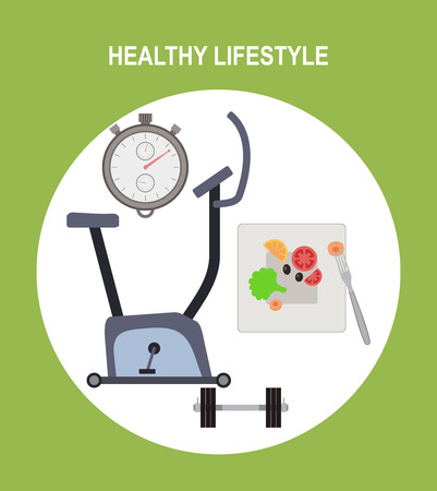 flat vector icons of healthy lifestyle, fitness and physical activity.