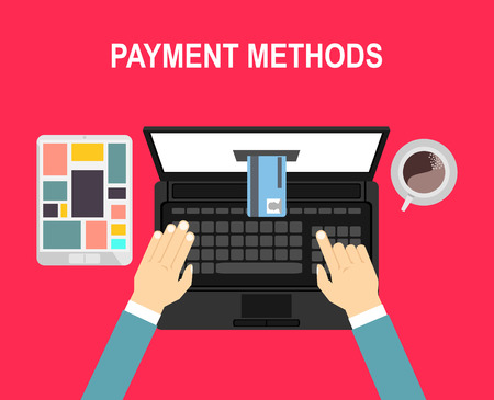 via: Concept of pay bill tax check online account via computer or laptop. Online payment. Illustration