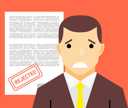 rejected: Sad man and rejected application form flat illustration concept. Illustration
