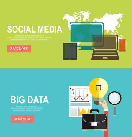predictive: Vector modern flat design and big data and predictive analytics, Social media network. Illustration