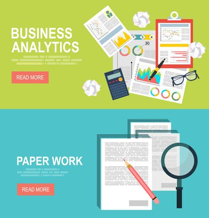 paper work: Vector modern flat design and Business analytic graph report .Paper work