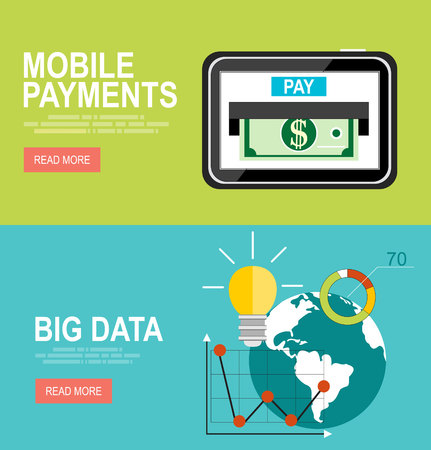 predictive: Vector modern flat design and big data and predictive analytic, mobile payments. Illustration