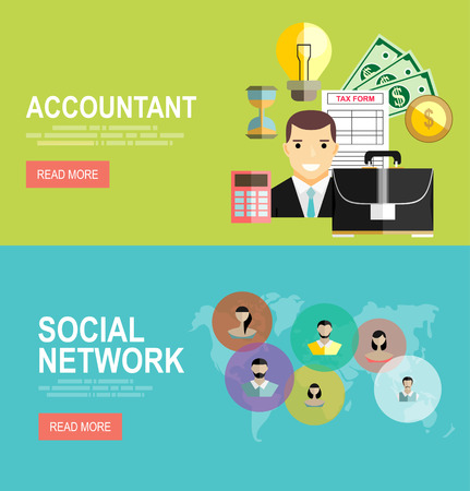 bookkeeper: Vector modern flat design and Accountant, businessman. Global social network abstract scheme. Illustration