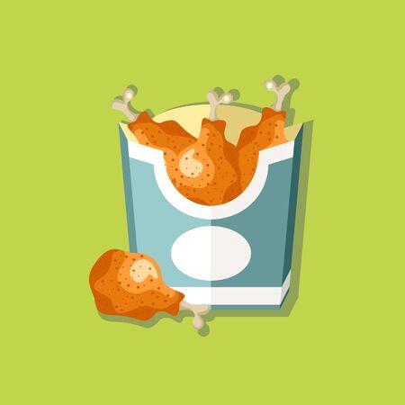 Fried chicken. Flat style design - vector Illustration