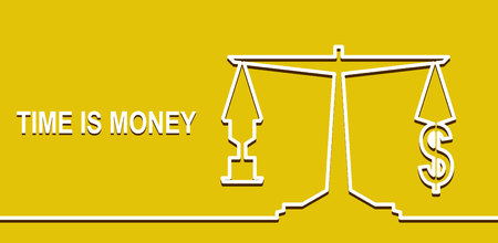 equilibrium: Time is money, money concept. On the scales of a dollar sign and an hourglass. Equilibrium and selection yellow background. vector Illustration
