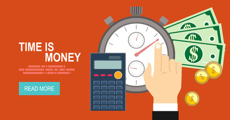 big timer: Time is money concept. Flat vector icon.