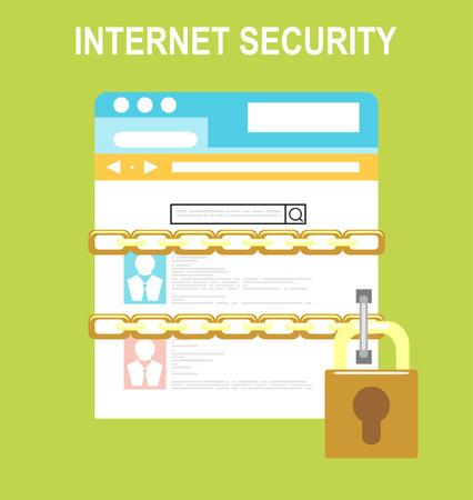 Security and Cloud Technology Concept. Vektoros illusztráció