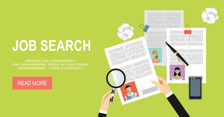 article marketing: Concept of job searching. Hand holding loupe. Flat design. Illustration