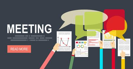 determine: Meeting concept illustration. flat design. Discussion concept illustration. Brainstorming concept.