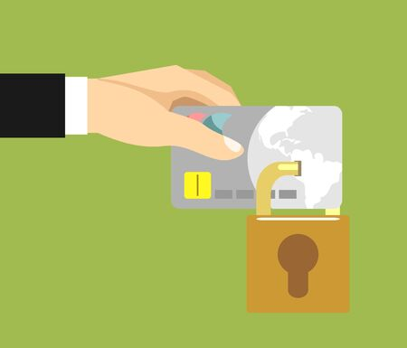 secure payment: Secure Payment. Credit card and padlock. Vector illustration