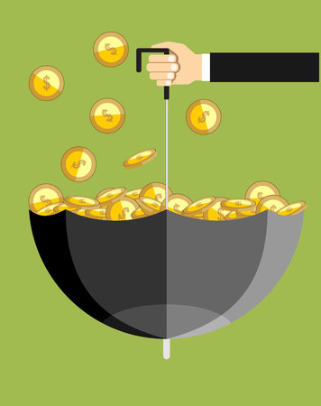 flipped: Businessman catches money, get profit. Hand holding flipped umbrella under golden cash rain. Illustration