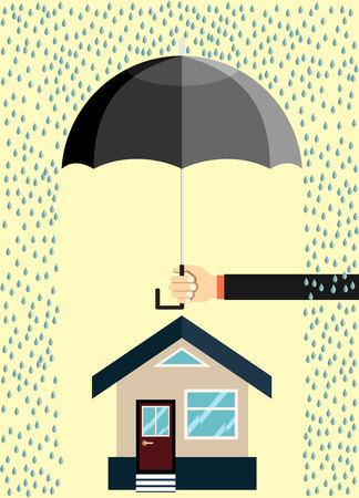 House insurance, hand hold umbrella over it. Flat vector illustration Vettoriali
