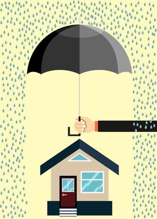 Assicurazione casa, mano tenere ombrello sopra. Illustrazione vettoriale piatto