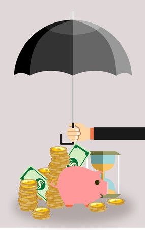 protect money: Hand holding umbrella under to protect money. money protection, financial savings concpet. vector illustration in flat style