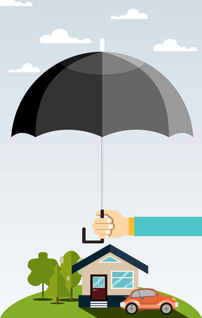 residential tree service: Concept of security of property, flat design. Insurance home, car, money. Vector illustration.