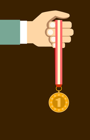 commendation: Success. Vector victory concept. Hand with a medal flat style Illustration