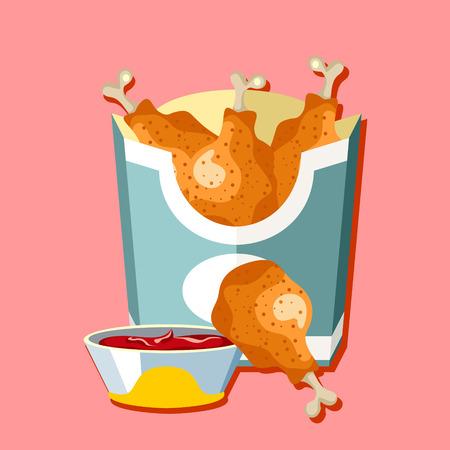 foodstuffs: Fried chicken. Flat style design - vector Illustration