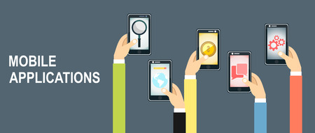 mobile application: Mobile application concept. Hands holding phones.