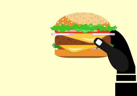 Hand Holding a Cheeseburger Illustration