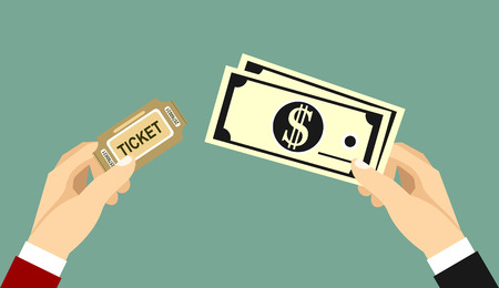 Buying ticket for money concept. Hand holding tickets and another hand holding money bills. Flat design