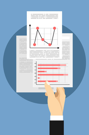 petition: Business Man Hand Hold Paper Documents, Sign Up, Contract Agreement Concept Vector Illustration