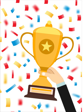 commendation: Hand holding a winner trophy cup in multi colored confetti concept vector illustration Illustration