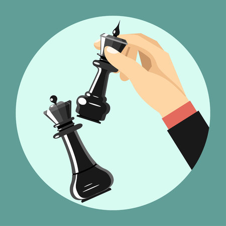 strategic position: Vector business strategy concept in flat style, male hand holding chess figure - planning and management Illustration