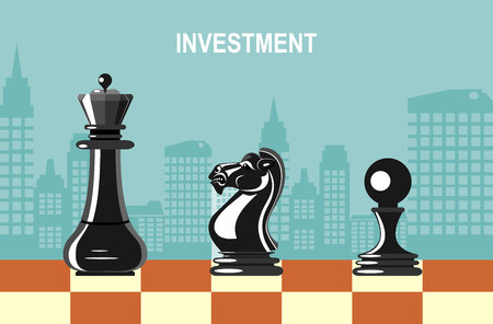Vector illustration of business chess infographic design element.