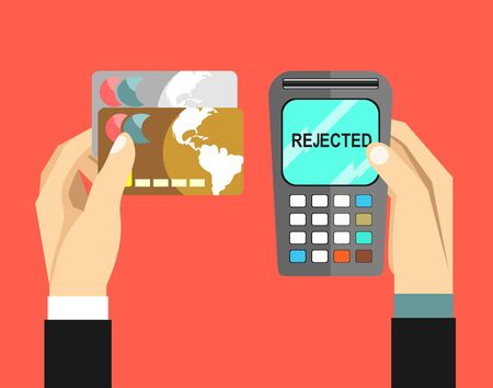rejected: mobile payment, rejected transaction. Illustration