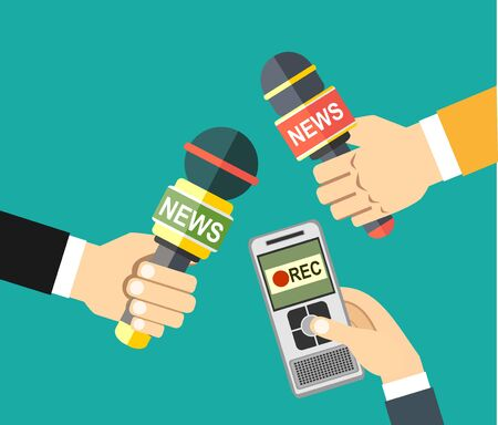 voice recorder: hands holding voice recorder, microphone. Mass media and press conference concept. journalism. vector illustration in flat style on green background