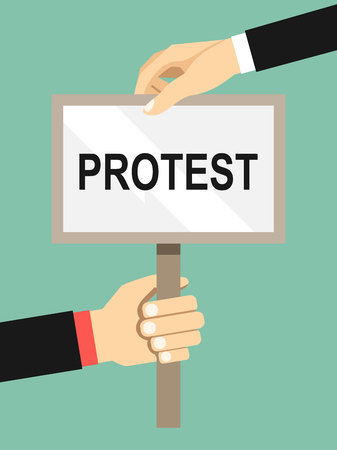riot: Hand holding protest sign flat illustration. Protest, demonstration, riot, political rally concept. Flat design elements for web sites, printed materials, web banner, infographics. Vector illustration Illustration