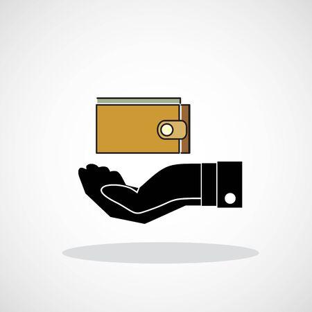 borrowing money: wallet and hand web icon. vector design