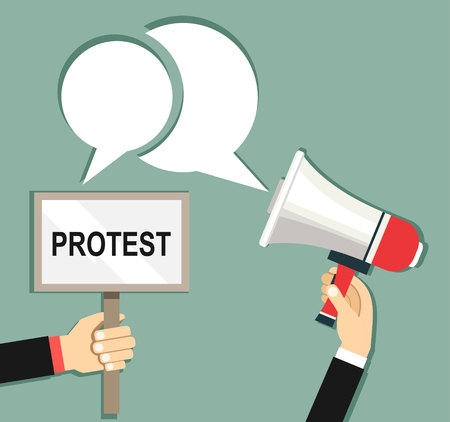 Cartoon hands of demonstrants and hand with Megaphone, protest concept, revolution, conflict, illustration in flat design