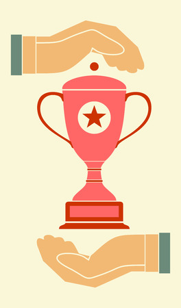raise hand: Two open hands holding champion cup isolated vector colored icon