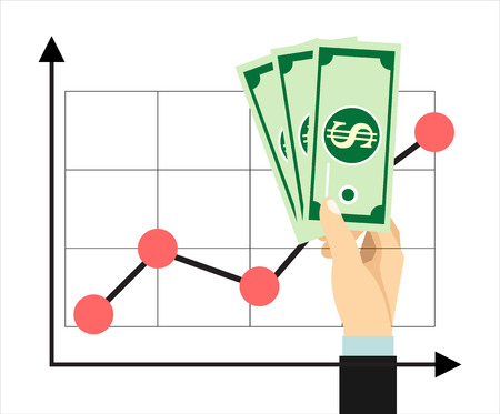 increasing: Increasing profit concept with hands holding dollars