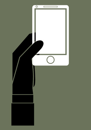 review site: Hand with phone web flat icon. Illustration