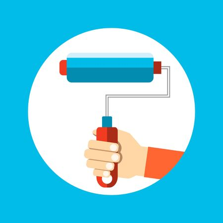 Mens hand holds a paint roller with a blue color. Interior design, repair concept. vector illustration flat design.