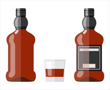 illustration of a bottle of whiskey and a glass
