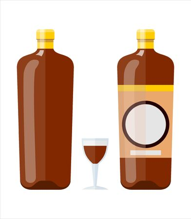 vector illustration of isolated glass and bottle of liquor.