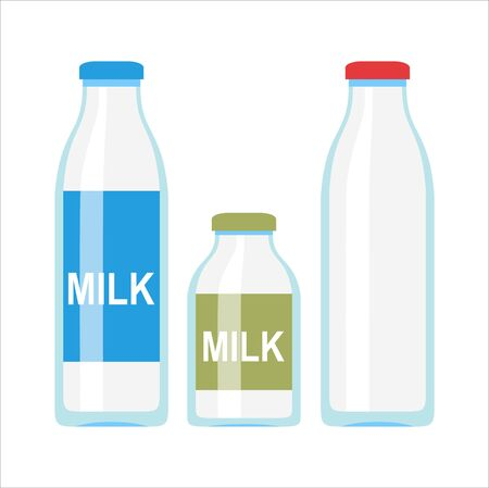 Glass or plastic bottle with milk or yogurt illustration. Flat design. Packaging for liquid product concept. Ilustração