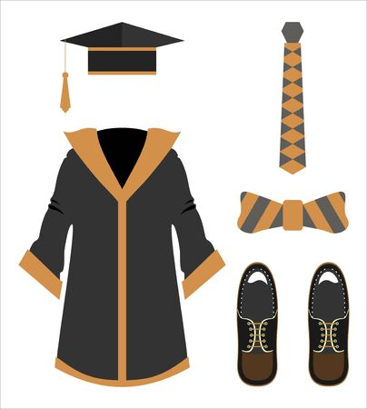 Graduation clothes and accessories set. Imagens - 135680147