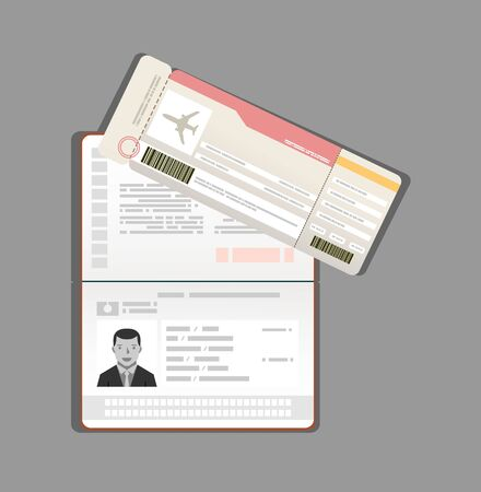 passport and boarding pass, airline ticket. Travel concept. Modern flat design Vectores