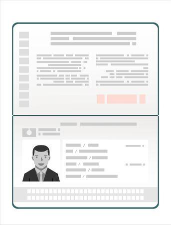Passeport avec données biométriques. Illustration vectorielle plane de document d'identification Vecteurs