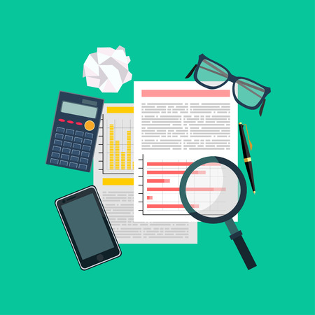 auditing: Auditor work desk, accounting paperwork, business research, financial audit, auditing tax process, report data analysis, analytics, financial research repor