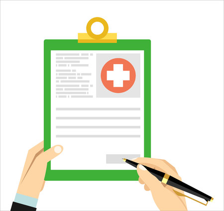 medical clipboard: Hands with pen and medical clipboard. Clinical record, medical report, survey, insurance paper, patient case flat concept. Vector illustration Illustration